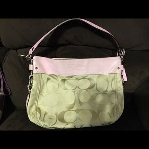 Pink and tan coach purse